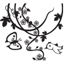 FLOWER BIRD BUTTERFLY ARTSTAMP