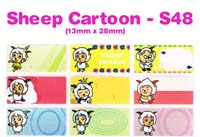 S48 100 pcs Sheep Sticker: (13mm x 28mm)
