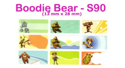 S90 100 pcs Boodie Bear Sticker : (13mm x 28mm)